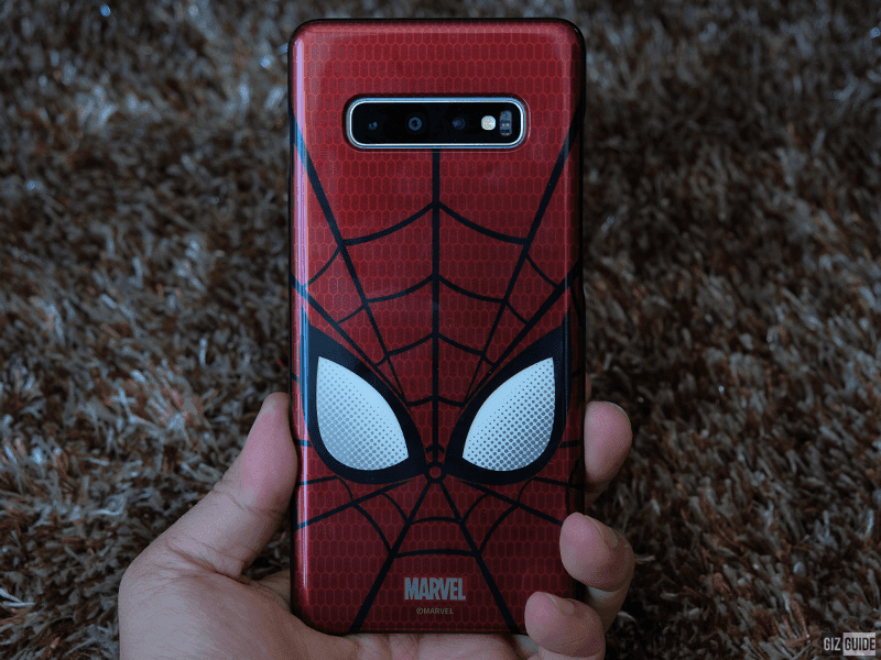 S10+ with the Spider-Man smart cover