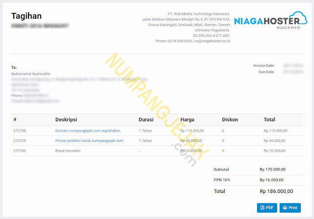 Review ulasan membeli domain blog di Niagahoster - beli domain di alfamart atau indomaret