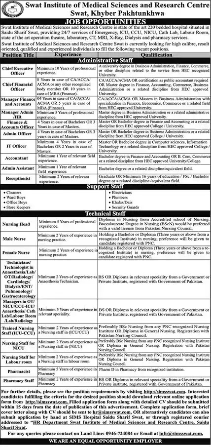 New Jobs in Swat Institute of Medical Sciences and Research Center Jobs 2021 | Download Application Form
