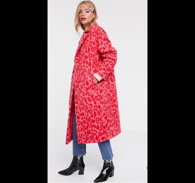 pink animal print coat