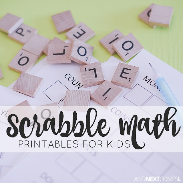 Scrabble math printables for kids to practice spelling, addition, and writing from And Next Comes L
