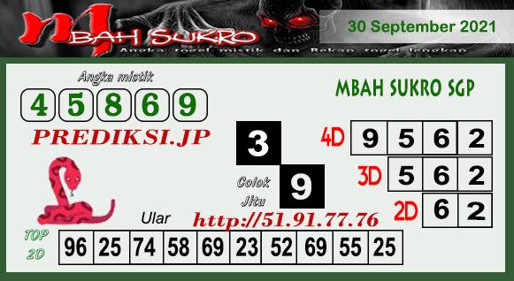 Pred Mbah Sukro SGP45 Kamis 30 September 2021