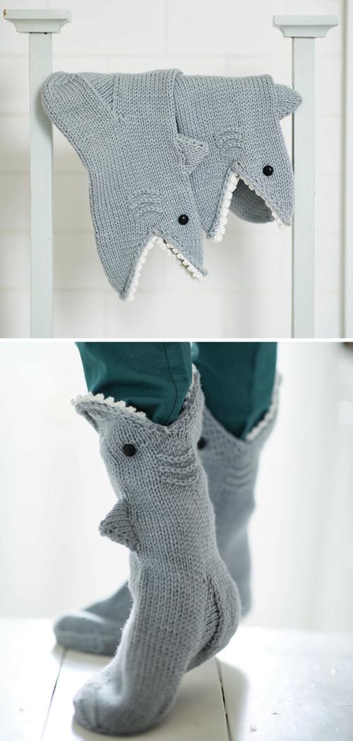 Shark Socks - Free Knitting Pattern