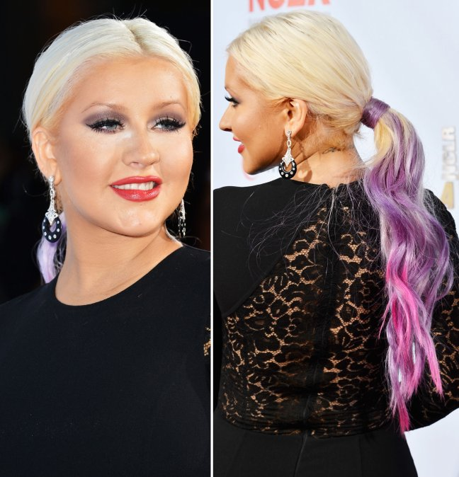 Christina Aguilera Pink And Purple Hair Color Fashion Eye