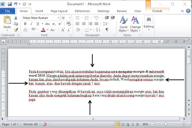 Cara mengatur margin di microsoft word 2010 Dalam Cm