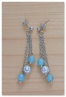 boucles d'oreilles clou pendantes quartz bleu et argenté