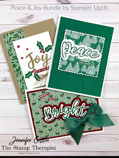 Three cards with Stampin' Up!'s Peace & Joy Bundle.  All three cards also use the Tis the Season designer paper.  #StampTherapist #StampinUp