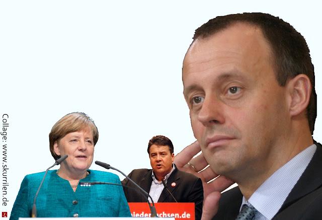 Macht Politik Collage Fondsgesellschaft Vermögenverwalter BlackRock Friedrich Merz Bundeskanzlerin Angela Merkel Außenminister Gabriel