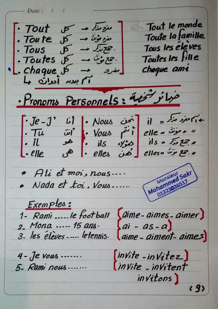 المراجعة النهائية في اللغة الفرنسية للصف الأول الثانوي مسيو محمد رمضان صقر 9