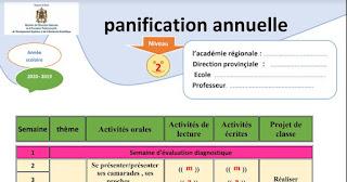 التوزيع السنوي لمادة الفرنسية المستوى الثاني  للموسم الدراسي 2019-2020