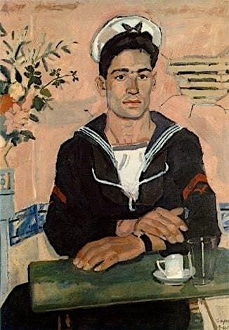 Yannis Tsarouchis (1910-1989), Marin sur un fond rose, 1955 , peintre grec,