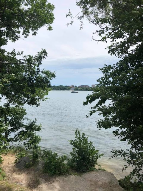 Watching boats sail by at Picnic Point in Madison, Wisconsin.