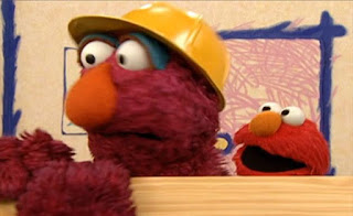 Telly carries a very long wooden plank to build things. Sesame Street Elmo's World Building Things