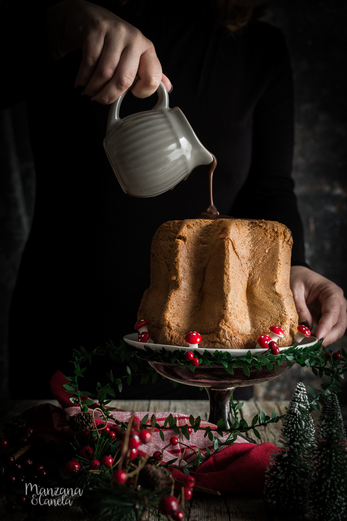Pandoro relleno de Tres Chocolates. Receta fácil de Navidad con y sin Thermomix.