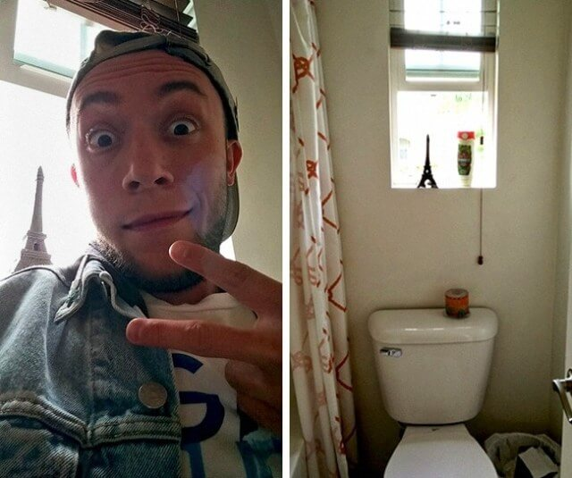 15 Hilarious Pictures That Show The Reality Behind Social Media Profiles - A personal Eiffel Tower in the loo