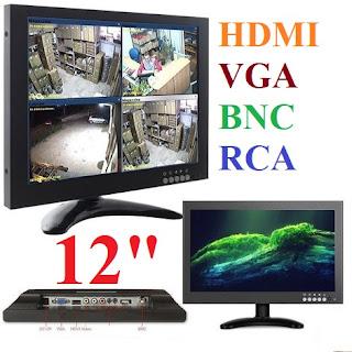 "monitor lcd 12"" pollici vga hdmi bnc rca"