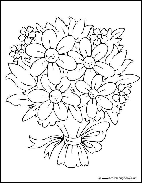 flower bouquet picture of flower bouquet in vase coloring page