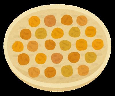天日干しされる梅のイラスト(黄色)