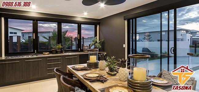 Cửa sổ lùa cho không gian phòng ăn