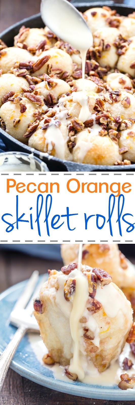 Skillet Orange Pecan Pull Apart Rolls