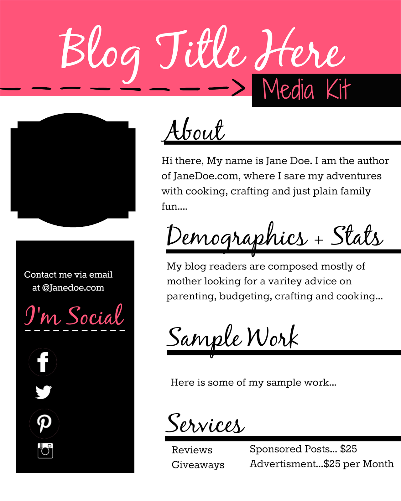 How to design a free media kit for your blog premade for Free electronic press kit template
