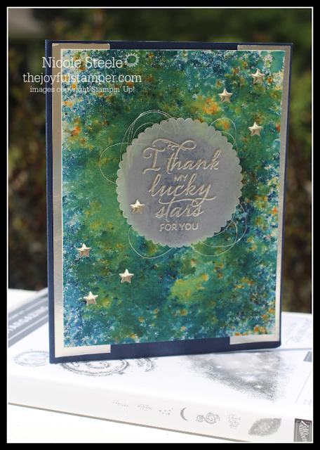 Stargazing card using Brushos/pigment sprinkles by Nicole Steele The Joyful Stamper