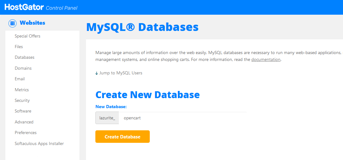 إنشاء قاعدة بيانات جديدة للمتجر الإلكتروني