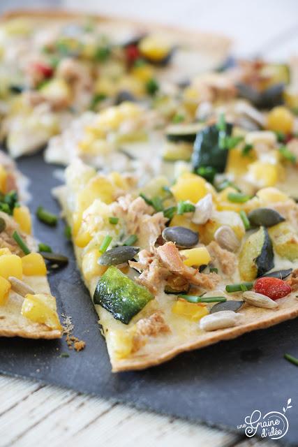 Pizza Tortilla Thon Maïs Courgette Coco Recette Facile Rapide Pas chère Originale