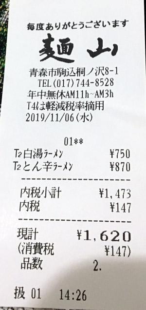 麺山 駒込本店 2019/11/6 飲食のレシート