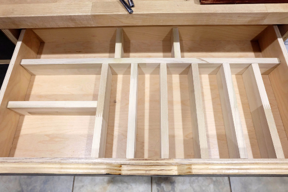 custom built poplar kitchen drawer organizer