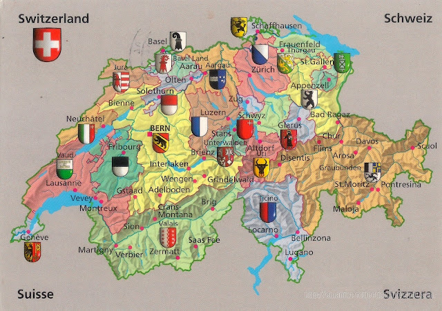 Mapcard of Switzerland