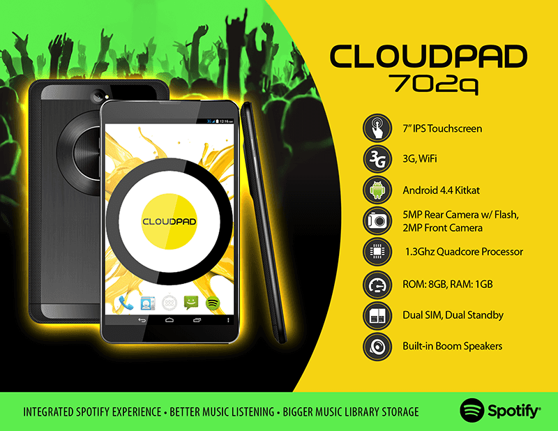 CloudFone Thrill 500x, Thrill 500+ And CloudPad 702q Spotify Series Gets Official, More Details Surfaced! (Press Release)