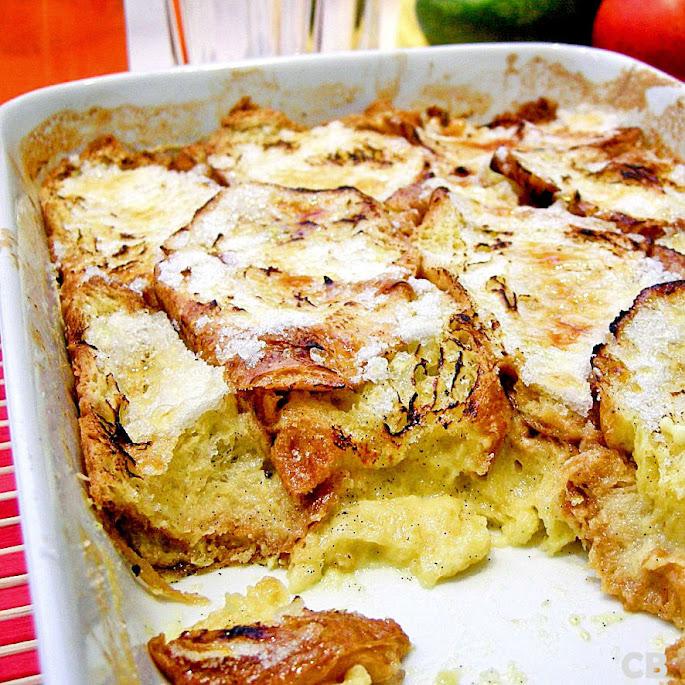 Croissantpudding met citroen en vanille