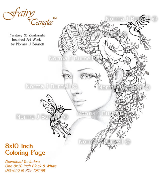 Fairy Tangles: New Coloring book pages for adults