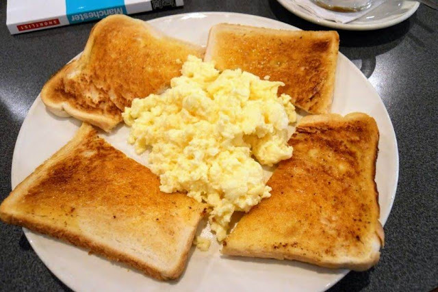Things to do in Manchester UK - eggs on toast for breakfast