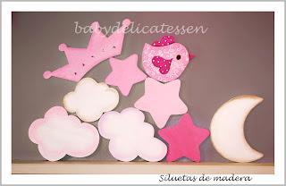 complementos para siluetas infantiles pajarito nubes estrellas babydelicatessen