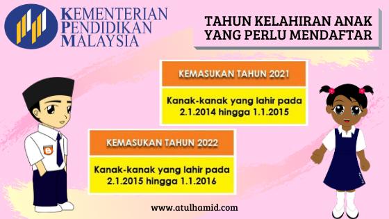 Permohonan Murid Ke Tahun 1 Untuk Tahun 2021 dan 2022