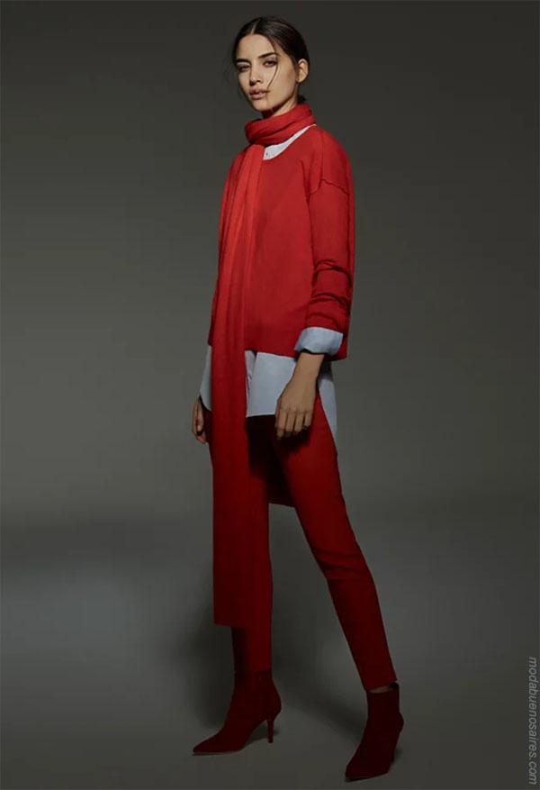 Moda otoño invierno 2018 total red look. Moda para mujer invierno 2018.