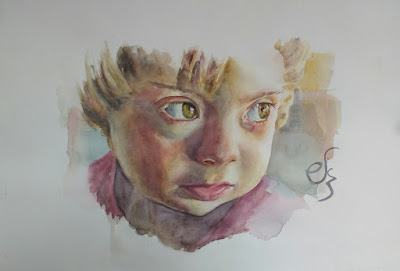 Retrato en acuarela de un niño