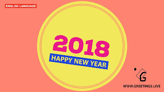 Yellow colour circle pink and blue combinations New Year wishes in English Language