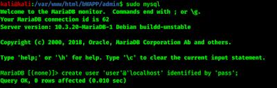 creating new user in sql database