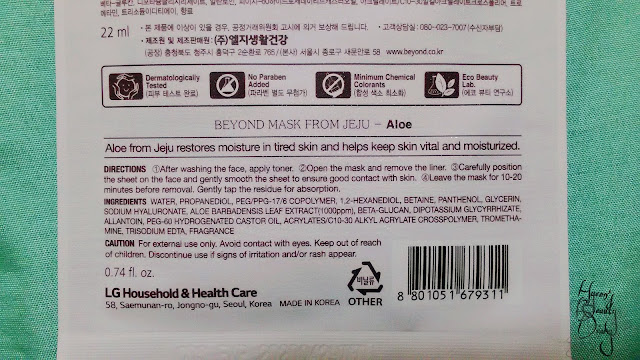 Review; Beyond's Aloe from Jeju Mask Sheet