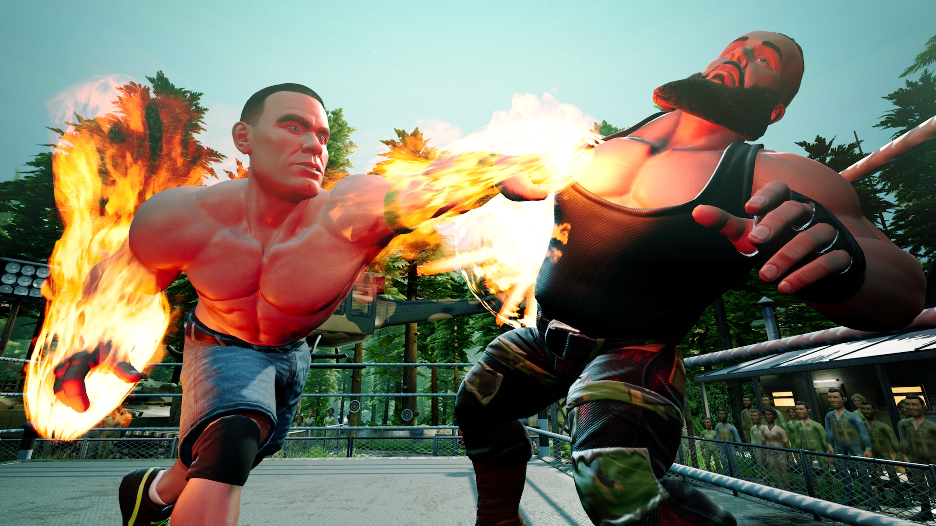 Braun Strowman and John Cena on WWE 2K Battlegrounds