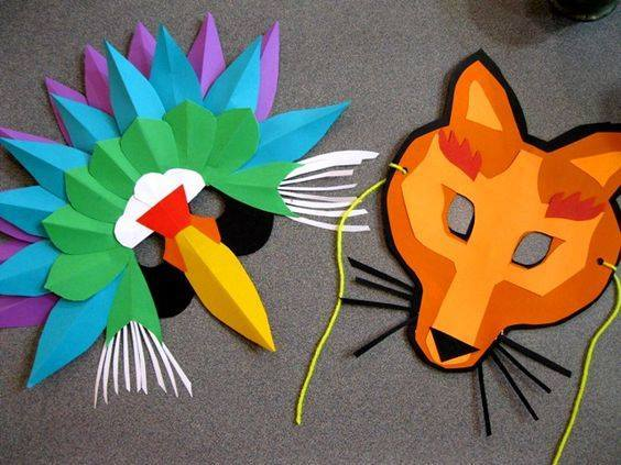 Idea to make mask from paper for kids : fox mask