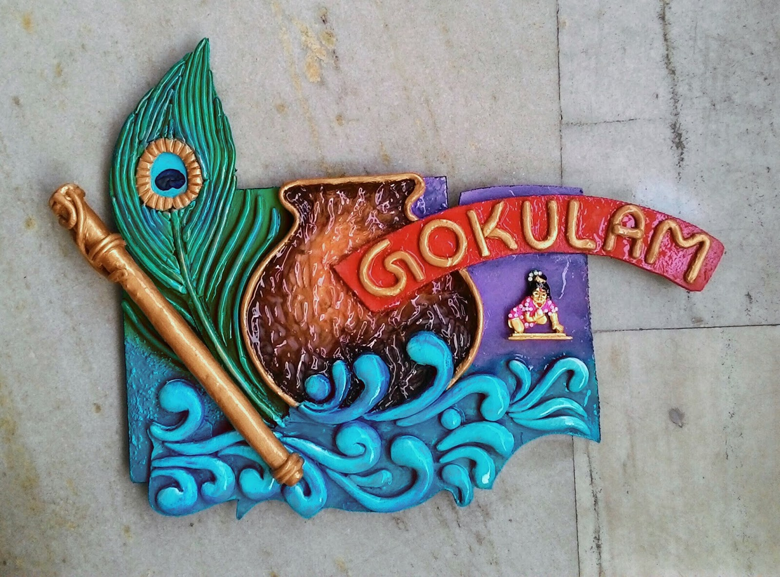 3d mural nameplate with clay work for Mural name plate designs