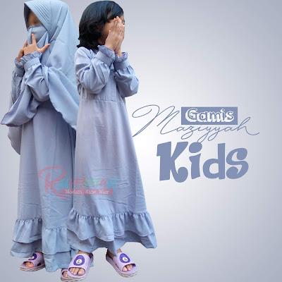 Gamis Anak Syari Maziyyah Kids Abu Muda