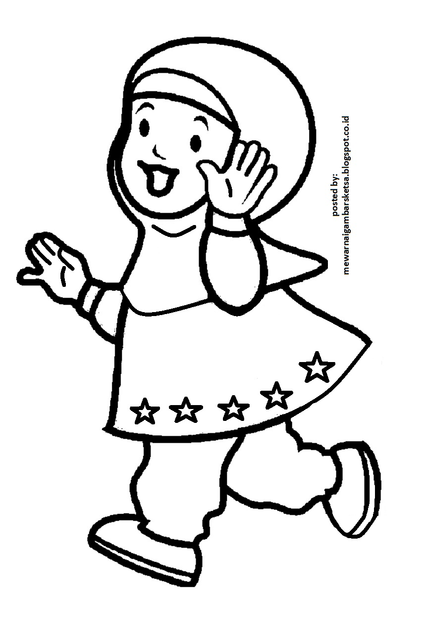 Gambar Anak Sekolah Kartun Hitam Putih Nusagates
