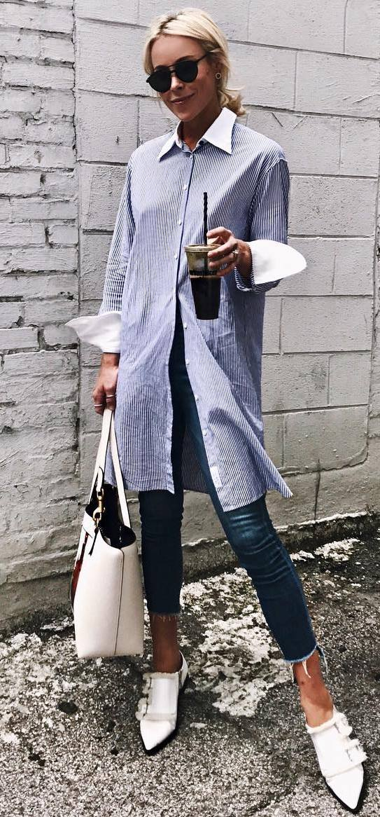 casual outfit perfection : loong stripped shirt + bag + heels + jeans