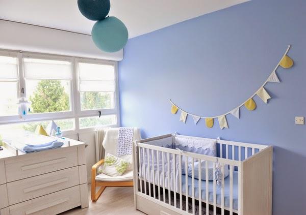 Dormitorio bebé celeste blanco
