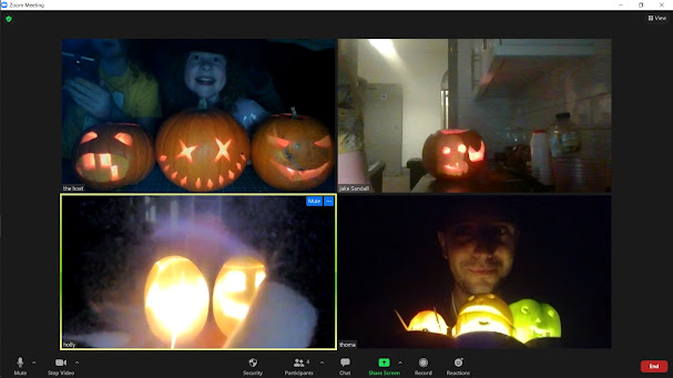 Collage of 4 images of pumpkins and smiling faces from a Zoom meeting